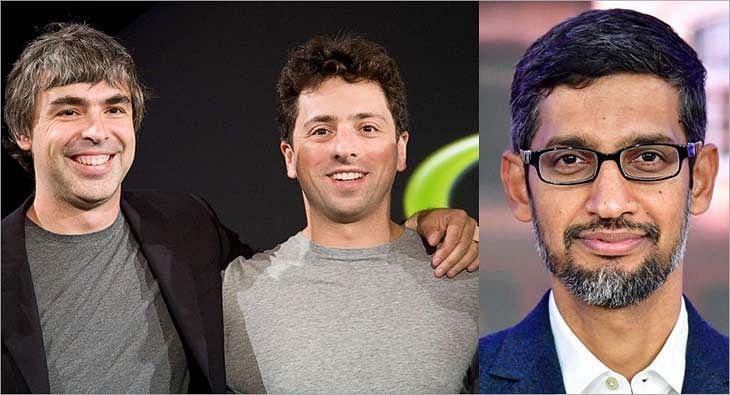 Larry Page Sergey Brin and Sundar Pichai?blur=25