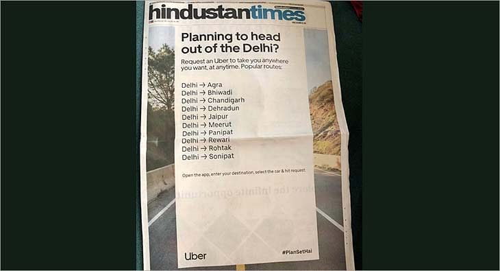 Uber Newspaper Ad Mistake