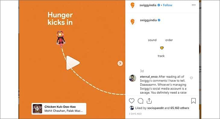 Swiggy's creative on instagram music?blur=25